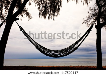 Hammock on beach and sky in background