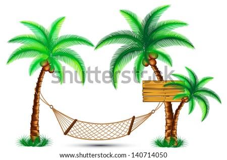 hammock under the palm trees. Rasterized illustration. Vector version in my portfolio - stock photo