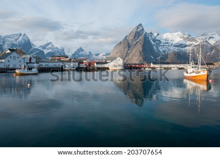 HAMNOY,NORWAY - MARCH 3:The beautiful fishing hamlet of Hamnoy in the Lofoten islands on march 3,2014.It is located on the eastern side of Moskenesoya, about 1.5 kilometers northeast of Reine - stock photo