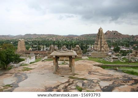 Hampi area with temple - stock photo