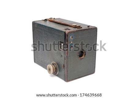 HAMPSHIRE, UK - JAN 31: Vintage Type 2 Kodak Box Brownie film camera isolated on white. Millions were produced in North America & UK between 1901 and 1935. Photo taken Hampshire, UK  on Jan 31, 2014