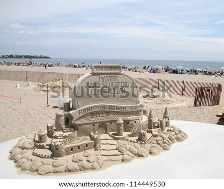 HAMPTON BEACH, NH, USA - JUNE 22: An Un-titled sponsor display at the Master Sand Sculpting Competition on June 22, 2012 in Hampton Beach, NH, USA - stock photo