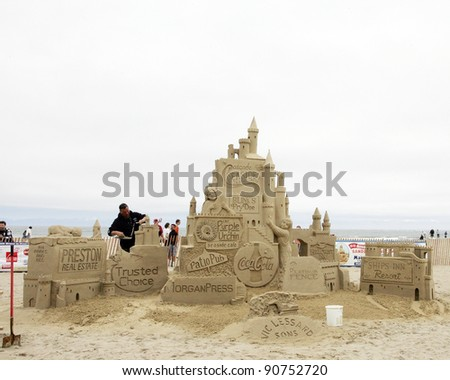 HAMPTON BEACH, NH, USA - JUNE 28: Un-titled sponsor display at the Master Sand Sculpting Competition on June 28, 2011 in Hampton Beach, NH, USA - stock photo