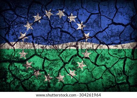 Hampton Roads ,Virginia flag pattern on crack soil texture,retro vintage style - stock photo