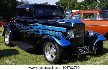 HAMPTON, VA-JUNE 9:A 1932 Ford hot rod at the 3rd annual HCS car show at the Hampton Christian School in Hampton Virginia, 2012 in Hampton Virginia on June 9, 2012. - stock photo