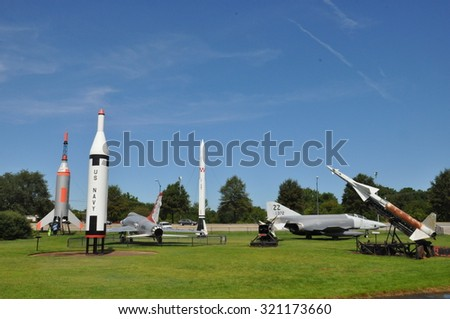HAMPTON, VA - SEP 7: Air Power Park in Hampton, Virginia, as seen on Sep 7, 2015. Several vintage aircraft and experimental space launch vehicles from the 1950s and 1960s are displayed out of doors.