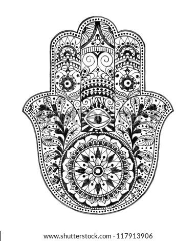 Hamsa hand hand drawn stock illustration 117913906 - Coloriage main de fatma ...