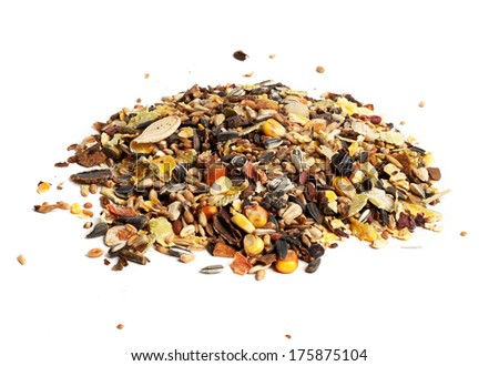 hamster food heap lies on a white background - stock photo