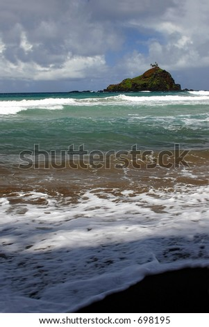 Hana's Beach on Maui Island Coastline - stock photo