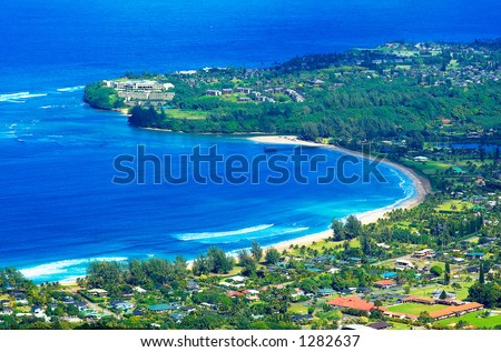 Hanalei Bay is the best surfing beach on Kauai Island. More with keyword Series001A.