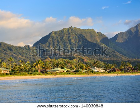Hanalei Beach on Kauai, Hawaii - stock photo