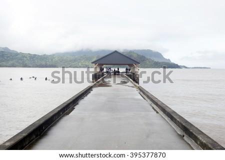 Hanalei Pier, Kauai, Hawaii - stock photo