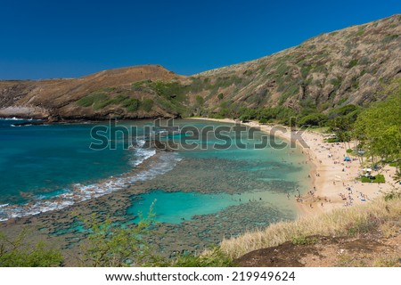 Hanauma Bay in Oahu, Hawaii, USA. - stock photo