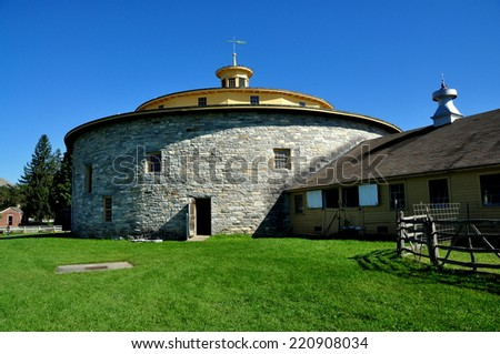 Hancock, Massachusetts - September 17, 2014:  The 1826 round stone barn at the Hancock Shaker Village - stock photo