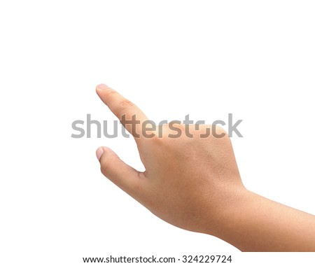 Hand acting isolated on white background with clipping path. - stock photo