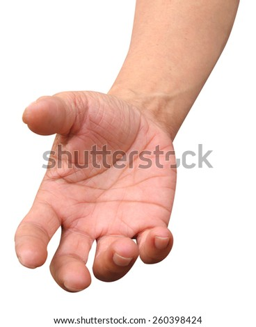 hand action design element isolated on white with path - stock photo