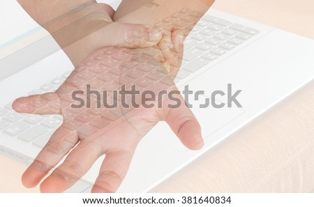 hand acute pain in a wrist, office syndrome