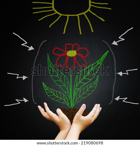 Hand against blackboard with drawing green leaves and sun. New life and ecological concept. - stock photo