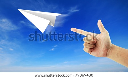 hand aircraft paper - stock photo