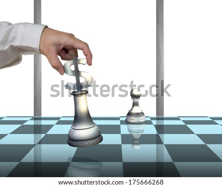 Hand allocating USD 3D symbol piece on chessboard with pawn isolated in white background - stock photo