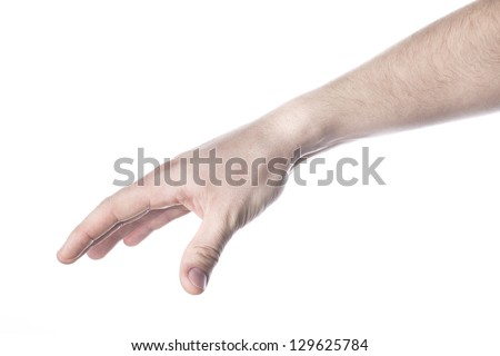 Hand and arm reaching for something, isolated on white background.