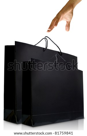 Hand and black glaze paper shopping bag, Shopping concept