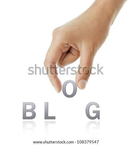 Hand and blog word on white background