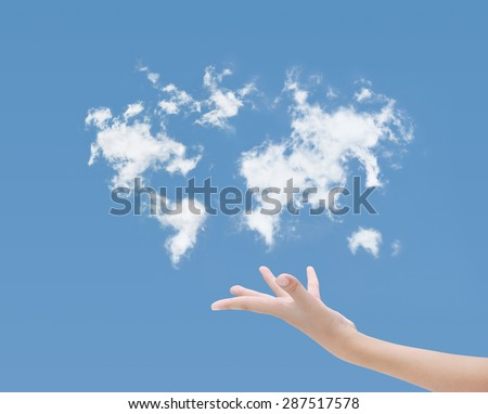 Hand and blue sky clouds map - stock photo