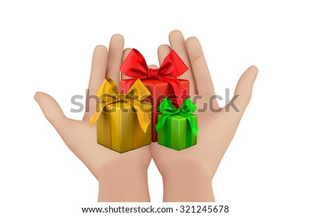 hand and christmas box 3d render - stock photo