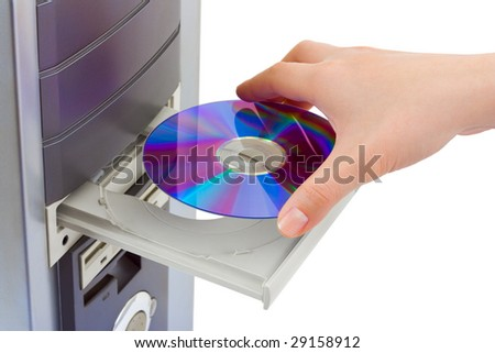 Hand and computer cd-rom isolated on white background