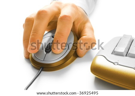 Hand and computer mouse with keyboard isolated on white - stock photo