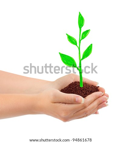 Hand and drawing plant isolated on white background