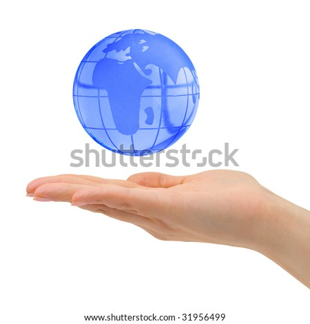 Hand and Earth isolated on white background