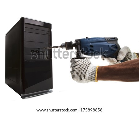 hand and electric drilling pointing to computer cpu use for hacker steal data pass word from it technology - stock photo