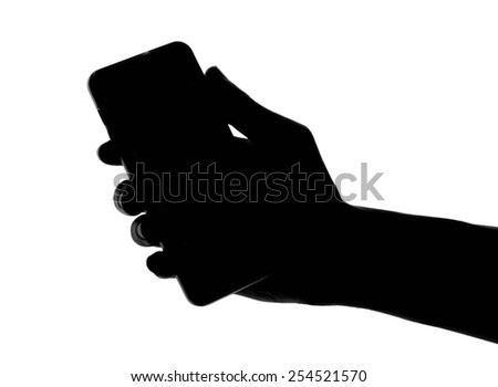 hand and finger grip smart phone black isolated on a white background, From photograph. - stock photo