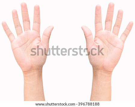 hand and finger of business man, show number ten sign, isolated on white background - stock photo