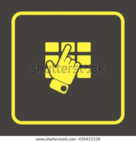 Hand and finger pushing button on a keypad. - stock photo