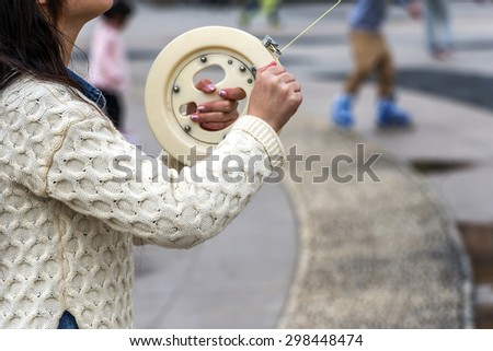 Hand and fly kite - stock photo