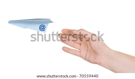 Hand and flying post plane isolated on white background - stock photo