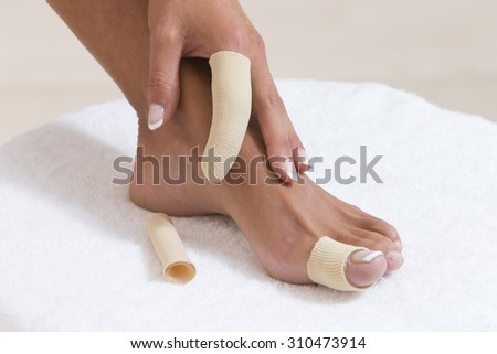 hand and foot 's finger protector - stock photo