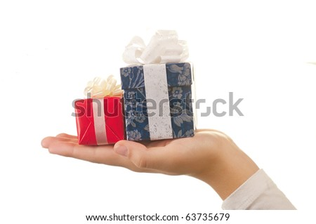 Hand and gift, isolated on white background