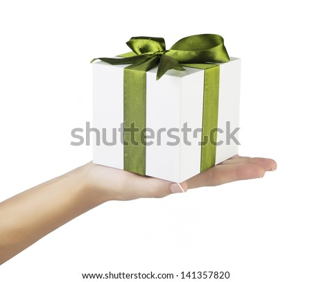 hand and gift over white background - stock photo