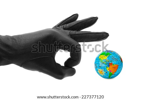 Hand and globe isolated on white background - stock photo