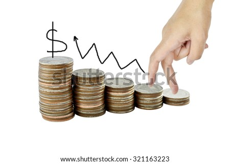 Hand and  graph on money growth concept in business, Coins on white background with clipping path.