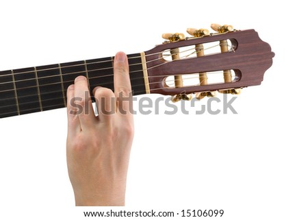Hand and guitar isolated on white background