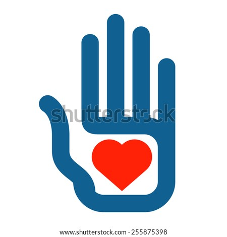 hand and heart on a white background. color icon - stock photo
