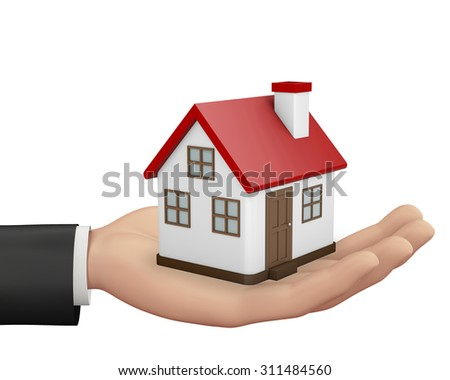 Hand and House as a gift for you 3d render