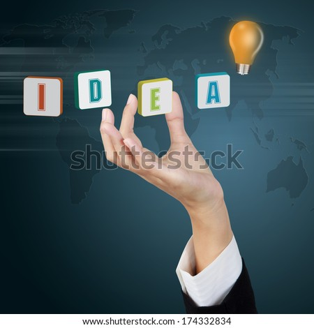 hand and idea word - good idea concept - stock photo