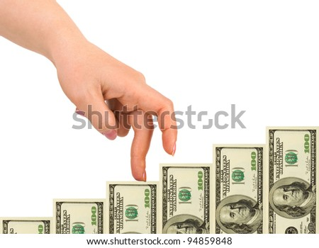 Hand and money staircase isolated on white background - stock photo