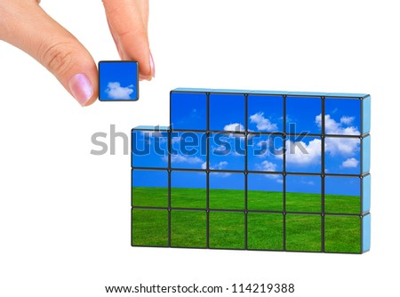 Hand and nature puzzle (my photo) isolated on white background